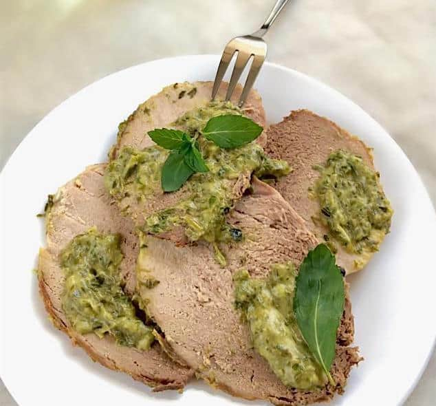 Photo of Oven Roasted Pork Loin with Mint & Green Scallion Relish