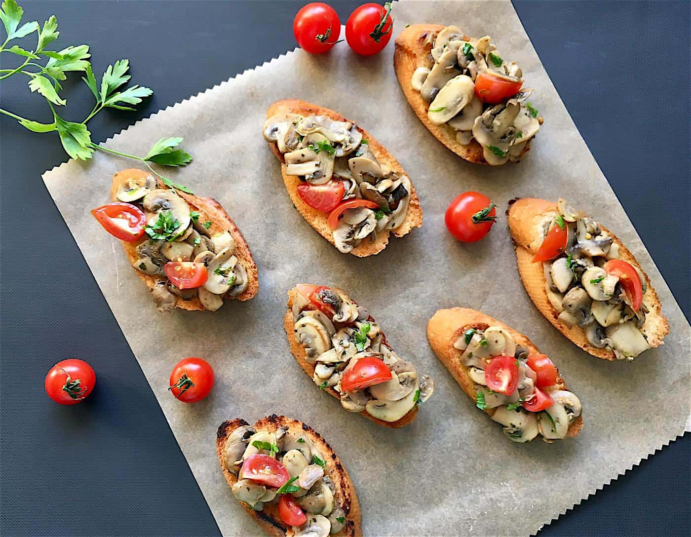 Photo of Bruschetta with Mushrooms and Fresh Cherry Tomatoes