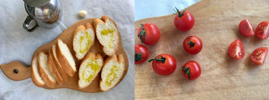 Bruschetta with Mushrooms and Cherry Tomatoes - Step1