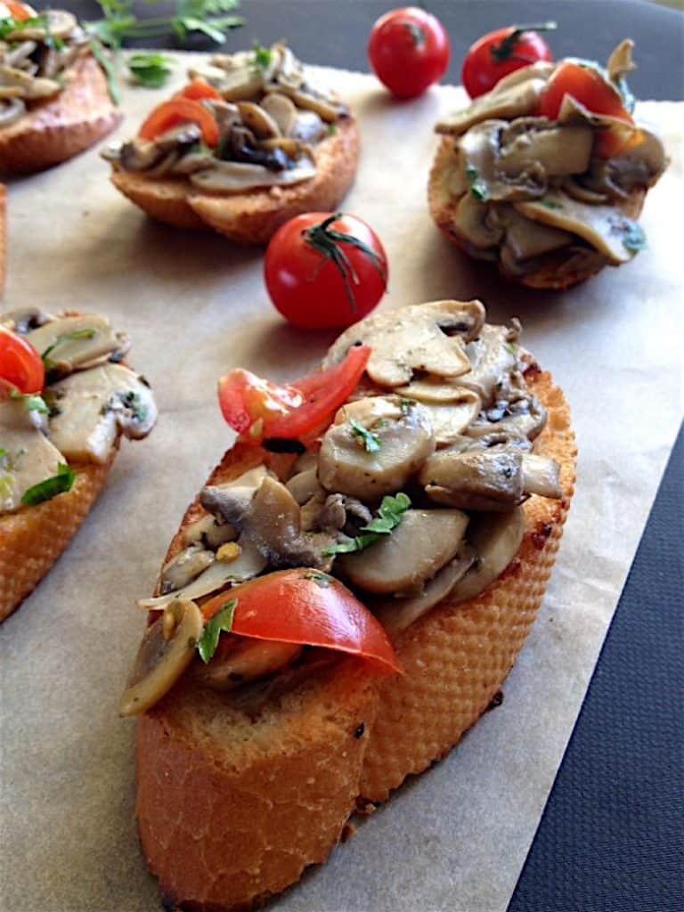 Bruschetta with Mushrooms and Cherry Tomatoes