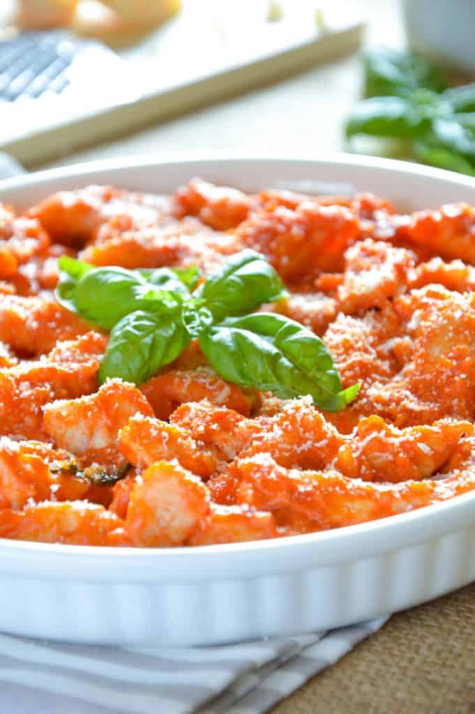 Italian Chicken Sorrentino {Delicious Chicken Strips in Creamy Tomato Sauce}