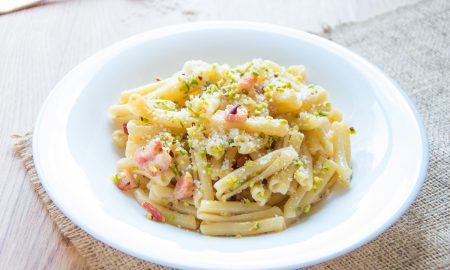 Casarecce Pasta with Smoked Pancetta & Pistachios