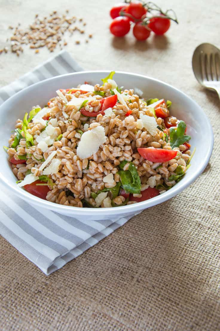 Summer Farro Salad with Arugula and Cherry Tomatoes