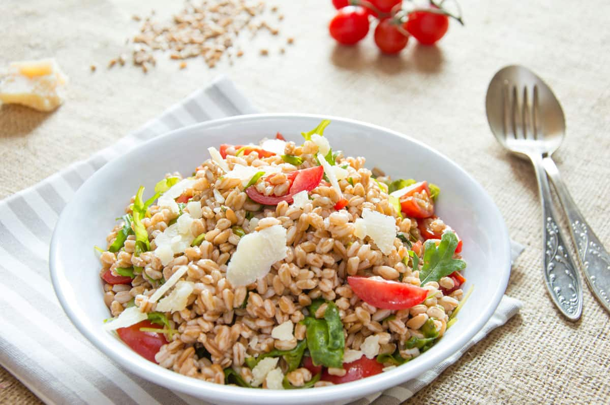 Photo of Farro Salad with Arugula, Cherry Tomatoes & Shaved Parmesan Flakes