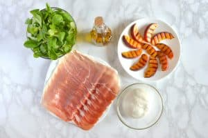 Prosciutto, Grilled Peaches and Burrata Salad Ingredients