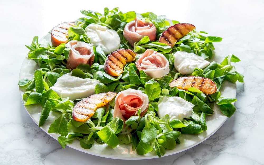 Photo of Prosciutto, Grilled Peach & Burrata Salad