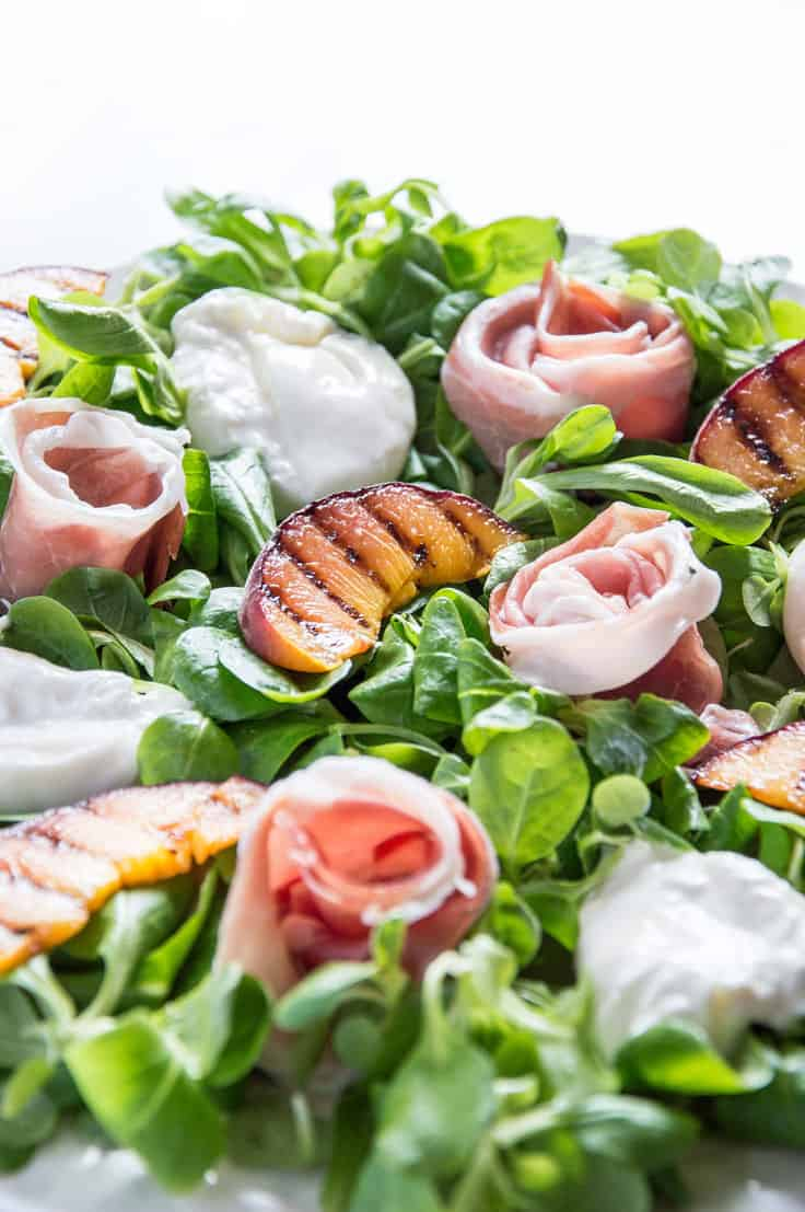 Prosciutto, Grilled Peach & Burrata Salad