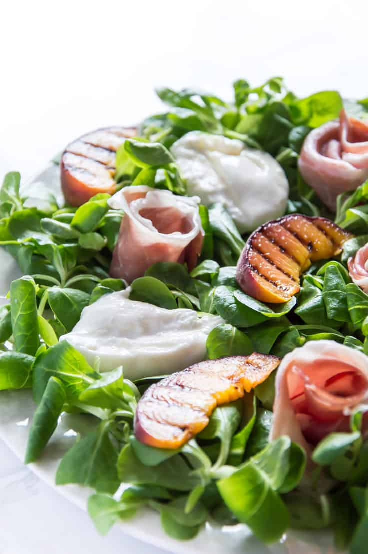 Prosciutto, Grilled Peach & and Creamy Burrata Salad - A fit-for-a-king kind of meal!!