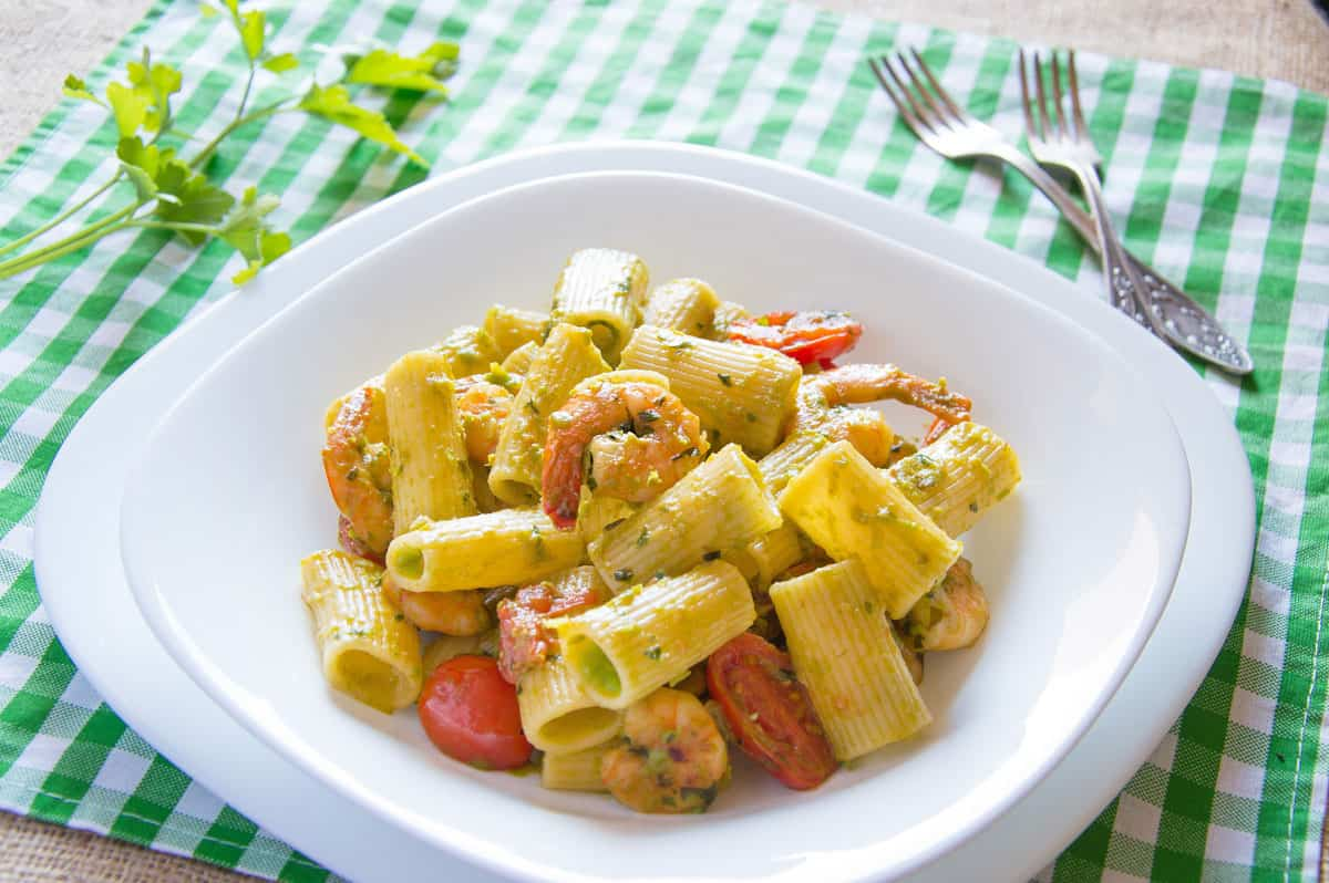 Photo of Rigatoni with Garlic Shrimp & Pea Cream Sauce