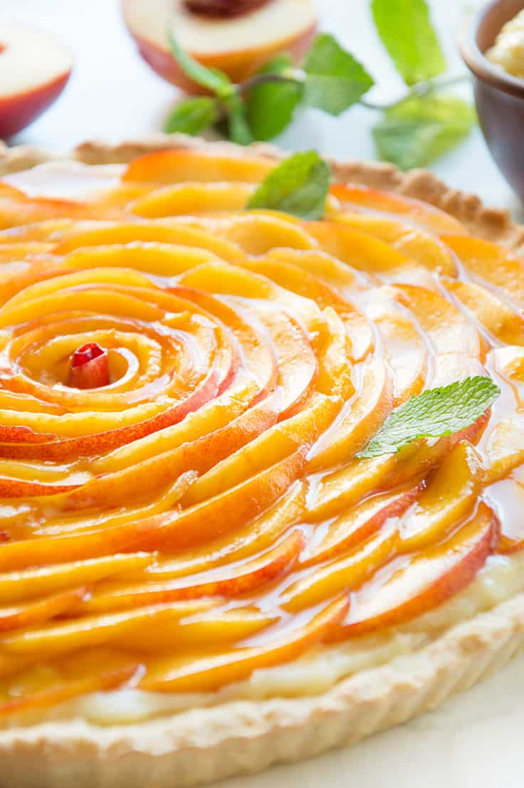 Fresh Peach Italian Crostata with Vanilla Custaard Recipe