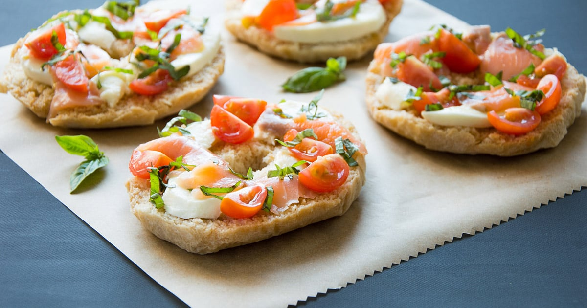 Friselle Pugliesi with Salmon, Mozzarella and Cherry Tomatoes
