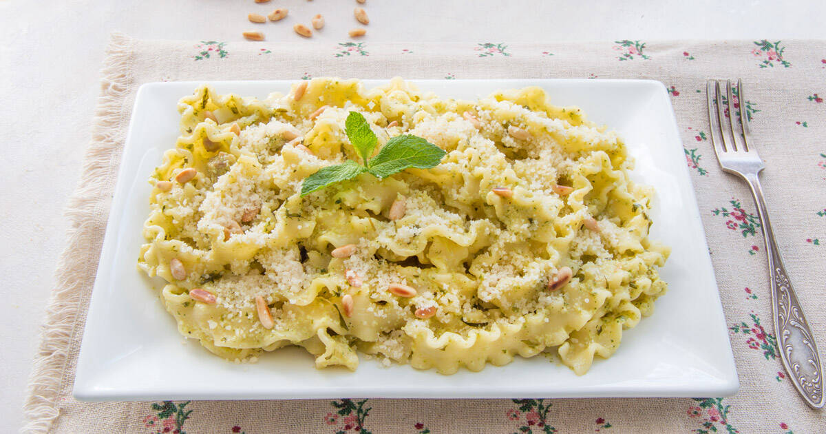 Photo of Mafalde With Creamy Zucchini Pesto & Pancetta