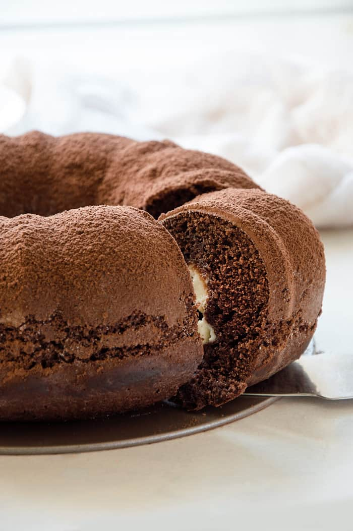Moist & Fudgy Chocolate Bundt Cake with Mascarpone Filling