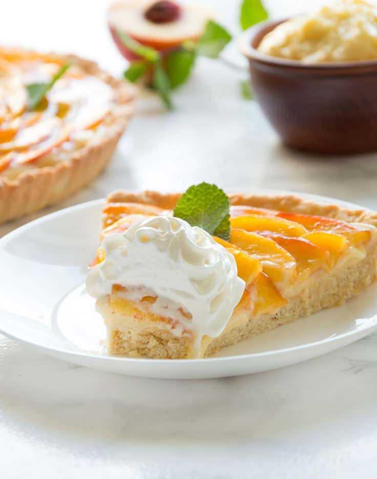 Fresh Peach Italian Crostata with Soft Vanilla Custard