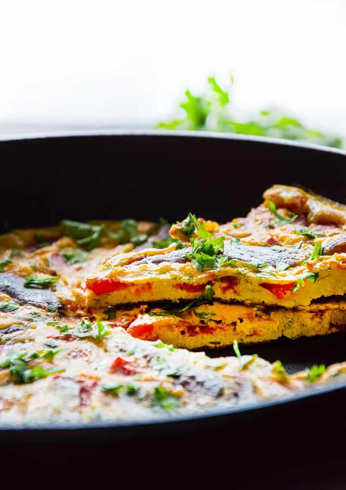 Briny Anchovy Frittata with Tomatoes