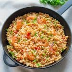 Fregola Sarda with Shrimp & Light Tomato Sauce