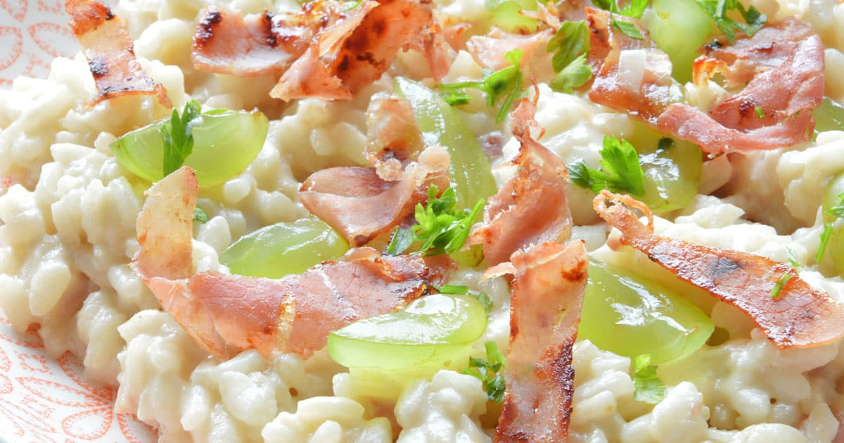 Photo of Grape Risotto with Crispy Prosciutto & Gorgonzola