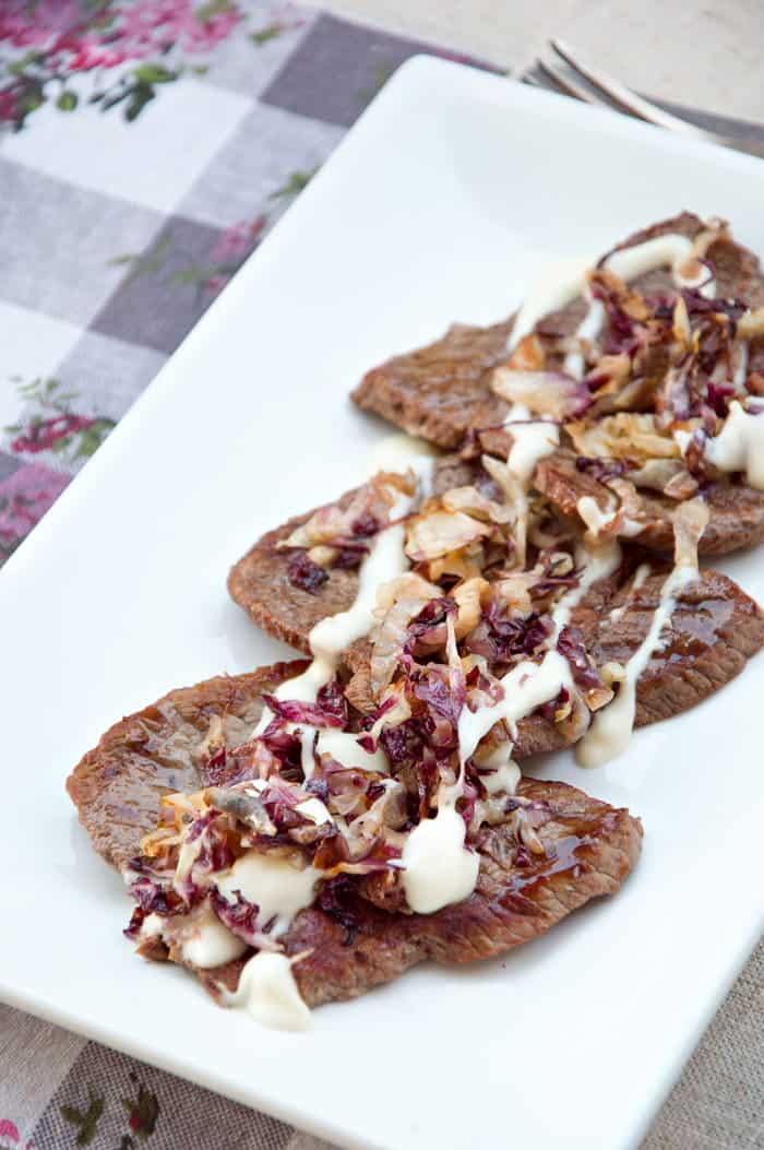 Minute Steaks with Radicchio and Asiago Cream Sauce