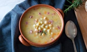 Ditalini Soup w/Chickpeas & Bacon Bits {Recipe}