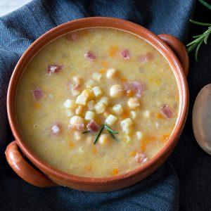 Ditalini Soup w/Chickpeas & Bacon Bits {Recipe}