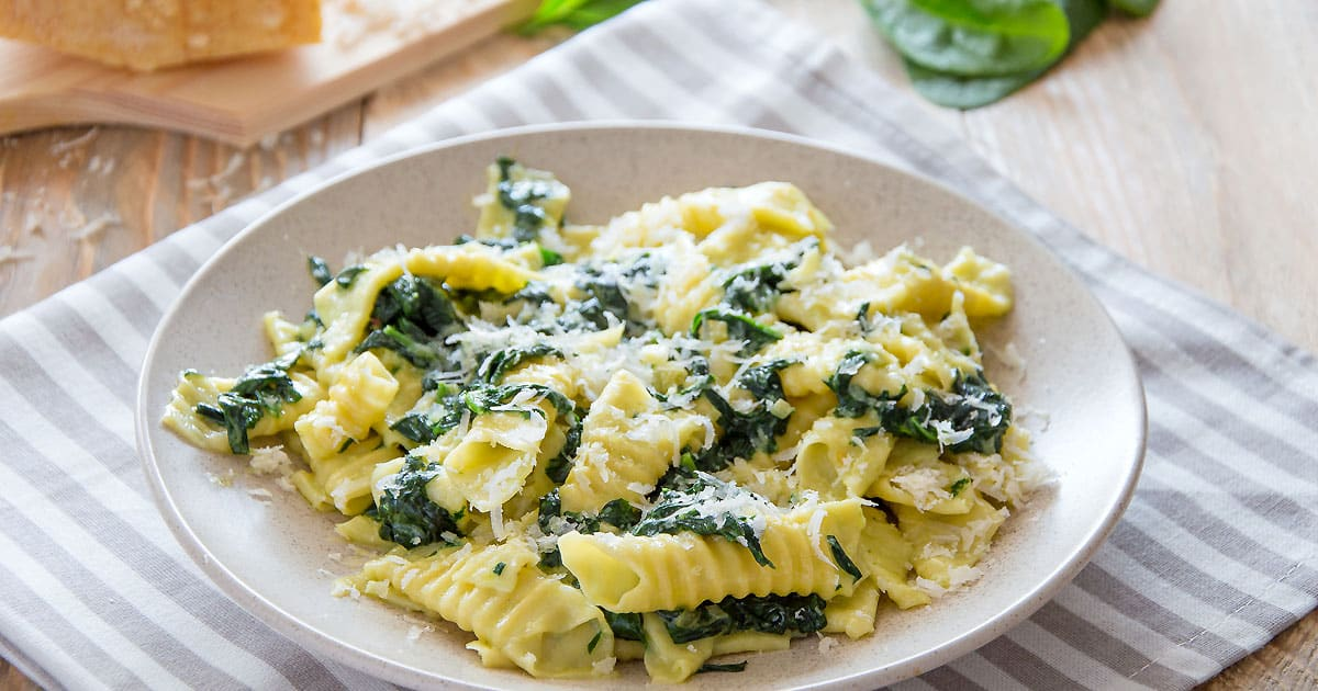 Garganelli Pasta WithCreamy Spinach Sauce {Recipe}
