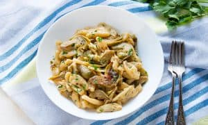 Cavatelli Pasta with Artichokes {SUPER YUM}