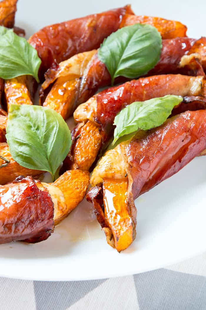 Balsamic & Honey Glazed Pumkin Wedges {with Speck & Cheese}