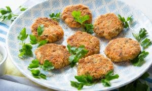 Salmon Patties with Avocado Dipping Sauce