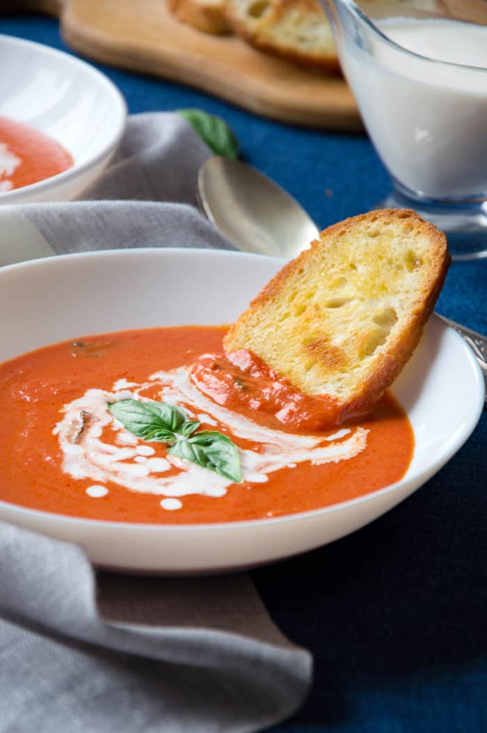 Tomato & Basil Soup {Light, Creamy, Super Easy!!}
