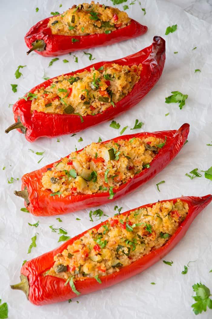 Couscous Stuffed Peppers {Veggies + Tuna}