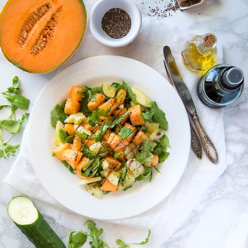 Summer Melon & Cucumber Salad {Juicy, Crunchy, Refreshing!})