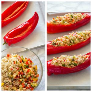 Couscous Stuffed Peppers {Veggies + Tuna}
