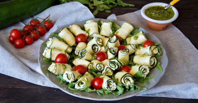Zucchini Rolls Stuffed with Ricotta & Pesto Sauce