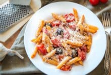 Penne Pasta with Roasted Cherry Tomatoes & Black Olives