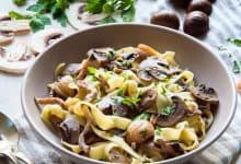 Tagliatelle with Mushrooms, Roasted Meat & Chestnuts