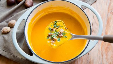 Photo of Creamy Pumpkin Soup with Mushrooms & Chestnuts