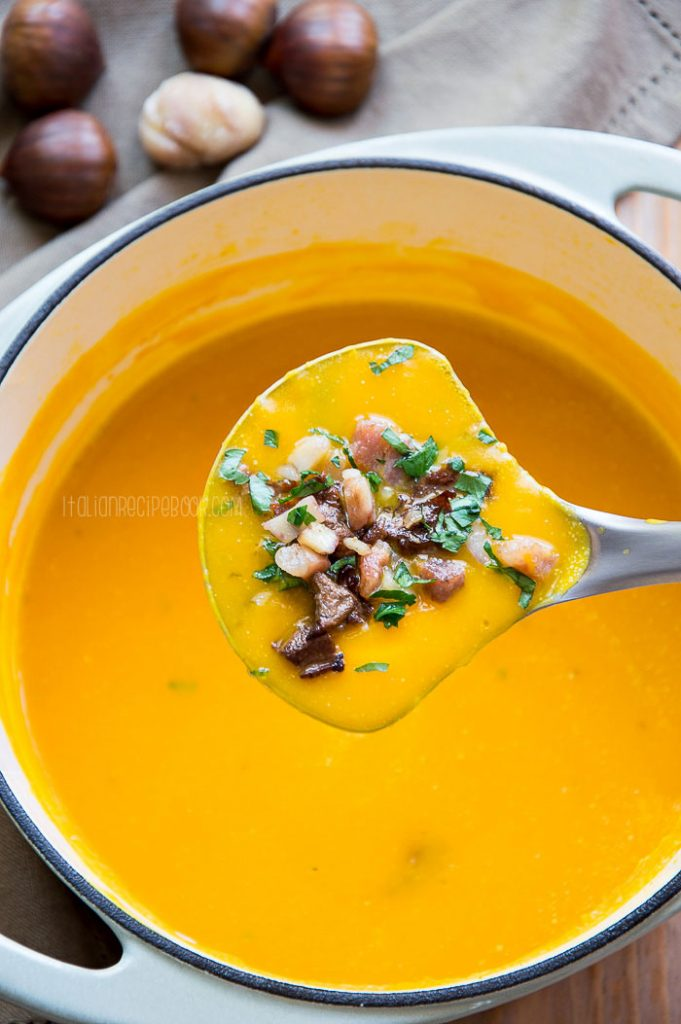 Creamy Pumpkin Soup With Mushrooms & Chestnuts