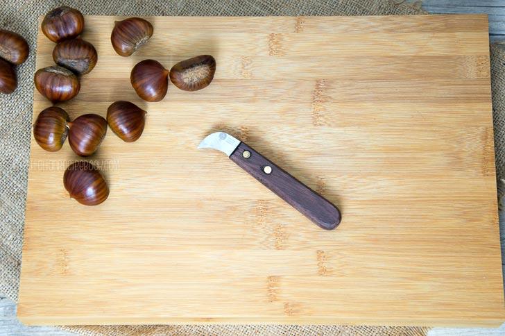 Chestnut Knife on a cutting board