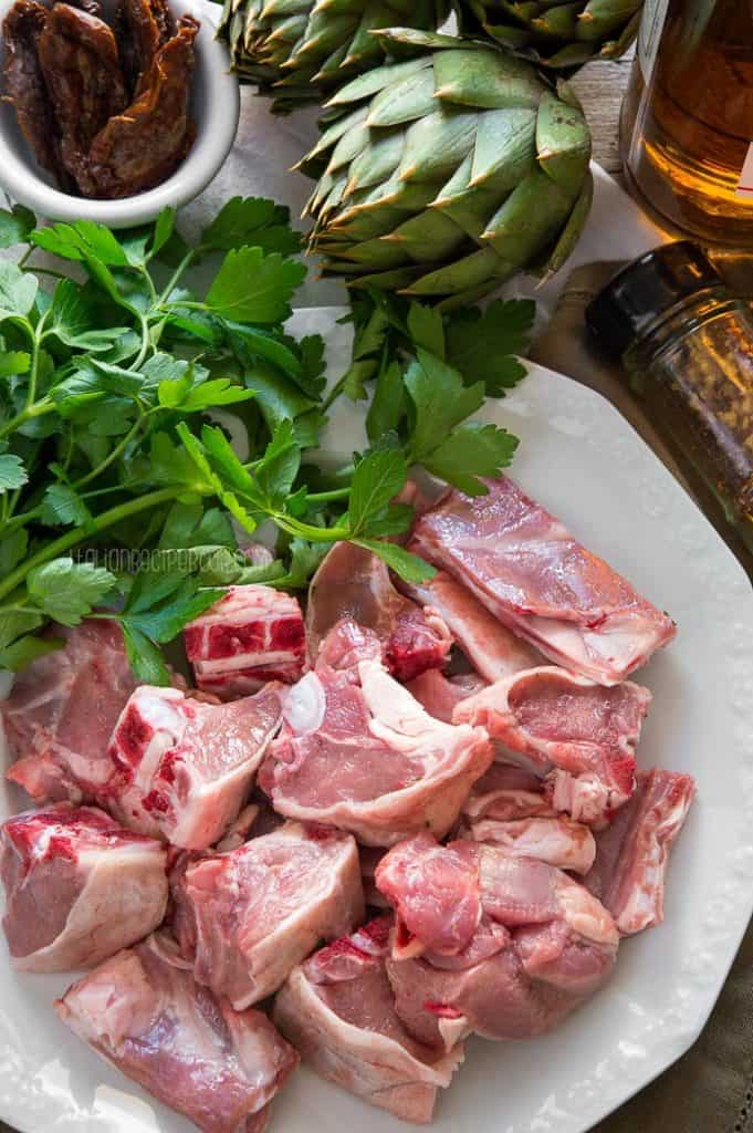 Italian Lamb and Artichoke Stew Ingredients