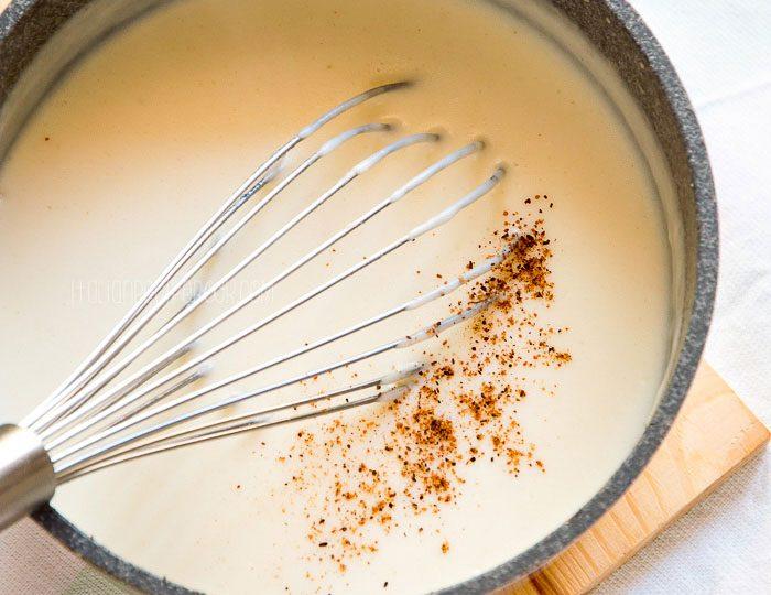 bechamel sauce in a pot