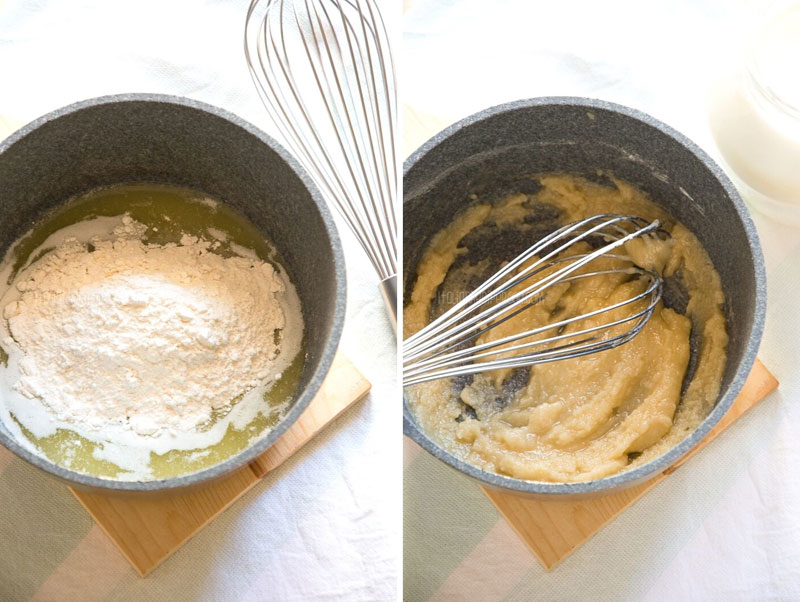 Process of making bechamel sauce - step 2 - adding flour and cooking roux