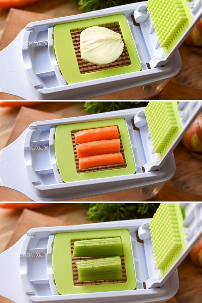 how to use vegetable chopper to cut vegetables for soffritto