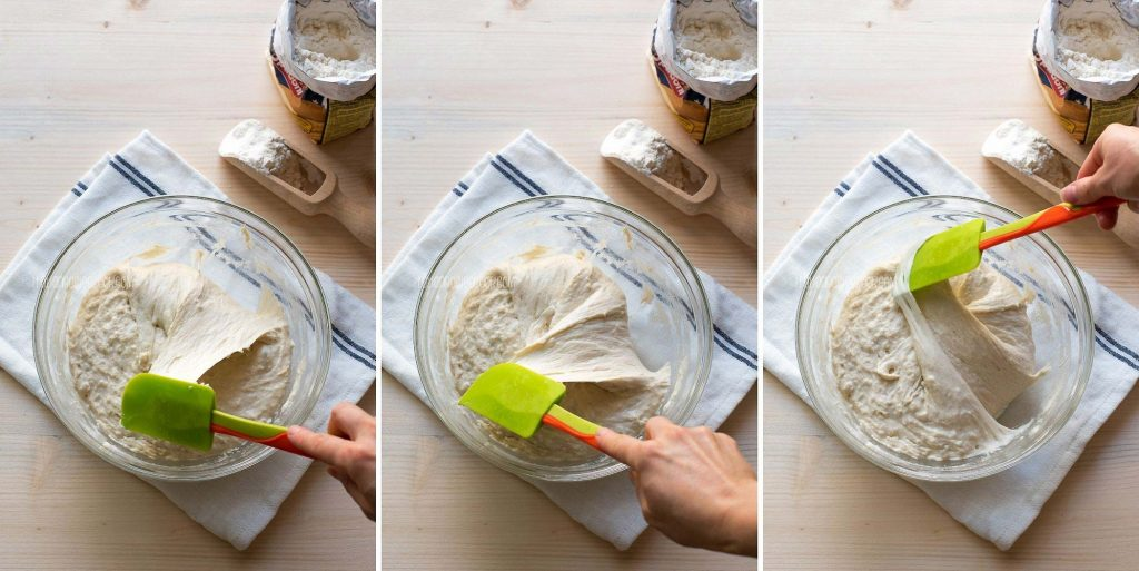 stretching and folding ciabatta dough