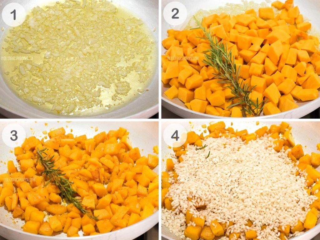 how to make pumpkin risotto - steps 1-4