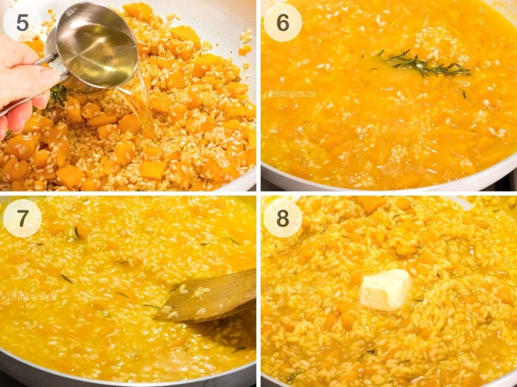 how to make pumpkin risotto - steps 5-8